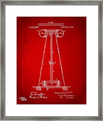 1914 Tesla Transmitter Patent Artwork - Red Framed Print