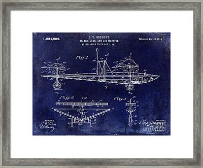 1914 Water Land And Air Machine Patent Blue Framed Print by Jon Neidert
