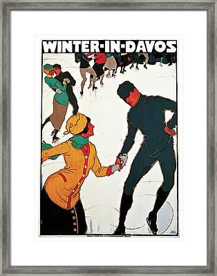 1914 Winter In Davos Switzerland - Vintage Travel Art Framed Print