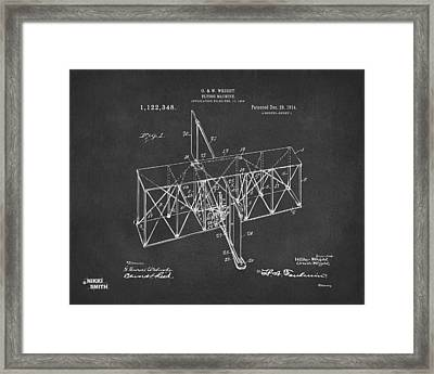 Framed Print featuring the drawing 1914 Wright Brothers Flying Machine Patent Gray by Nikki Marie Smith