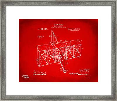 Framed Print featuring the drawing 1914 Wright Brothers Flying Machine Patent Red by Nikki Marie Smith