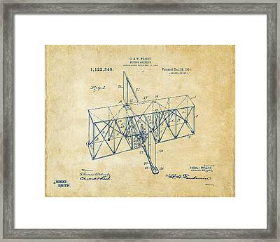 Framed Print featuring the drawing 1914 Wright Brothers Flying Machine Patent Vintage by Nikki Marie Smith