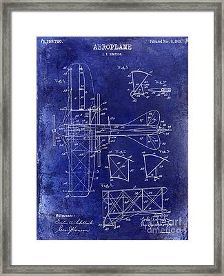 1915 Aeroplane Patent Drawing Blue Framed Print by Jon Neidert