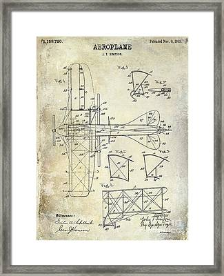 1915 Aeroplane Patent Drawing Framed Print by Jon Neidert