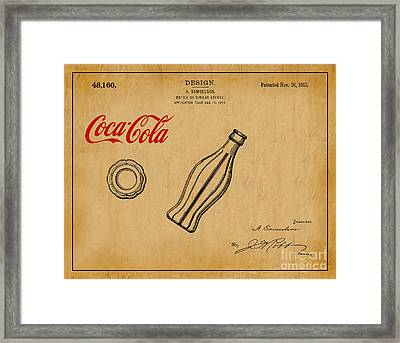 1915 Coca Cola Bottle Design Patent Art 1 Framed Print