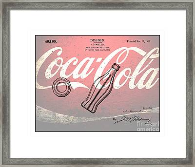 1915 Coca Cola Bottle Design Patent Art 3 Framed Print by Nishanth Gopinathan