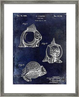 1915 Fish Bowl Patent Drawing Blue Framed Print