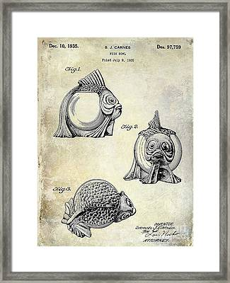 1915 Fish Bowl Patent Drawing  Framed Print