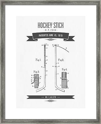 1915 Hockey Stick Patent Drawing - Retro Gray Framed Print by Aged Pixel