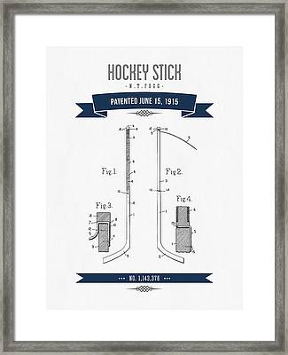 1915 Hockey Stick Patent Drawing - Retro Navy Blue Framed Print by Aged Pixel