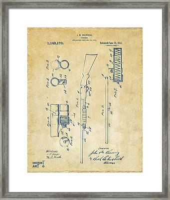 1915 Ithaca Shotgun Patent Vintage Framed Print