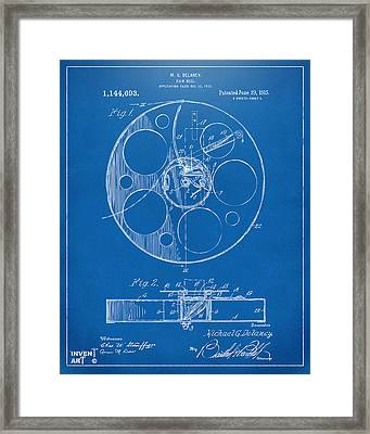 1915 Movie Film Reel Patent Blueprint Framed Print by Nikki Marie Smith