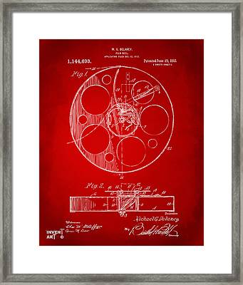 1915 Movie Film Reel Patent Red Framed Print