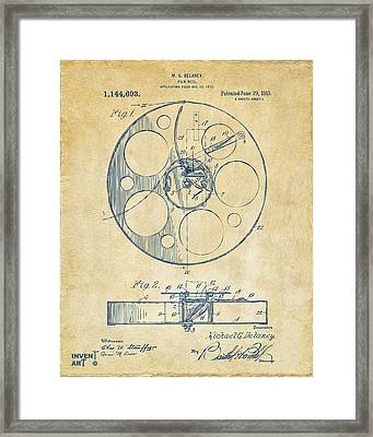 1915 Movie Film Reel Patent Vintage Framed Print