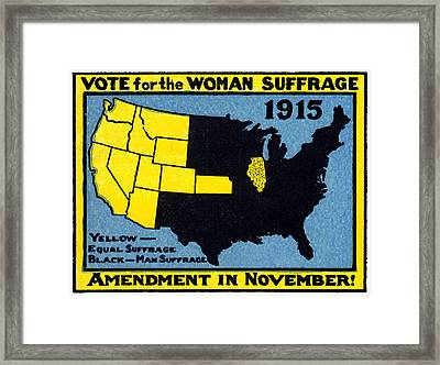1915 Vote For Women's Suffrage Framed Print by Historic Image