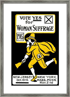 1915 Vote Yes On Woman's Suffrage Framed Print by Historic Image