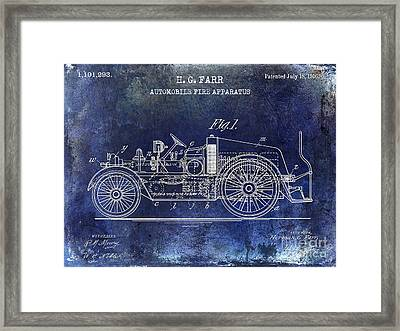 1916 Automobile Fire Apparatus Patent Drawing Blue Framed Print by Jon Neidert