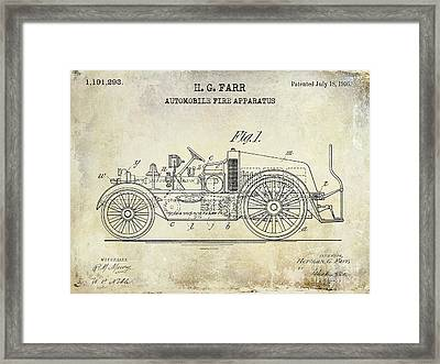 1916 Automobile Fire Apparatus Patent Drawing Framed Print by Jon Neidert