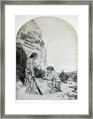1916 C. Knight Osborn Neanderthal Artwork Framed Print by Paul D Stewart