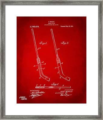 1916 Hockey Goalie Stick Patent Artwork - Red Framed Print