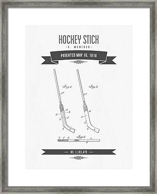 1916 Hockey Stick Patent Drawing - Retro Gray Framed Print by Aged Pixel