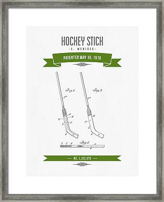 1916 Hockey Stick Patent Drawing - Retro Green Framed Print by Aged Pixel