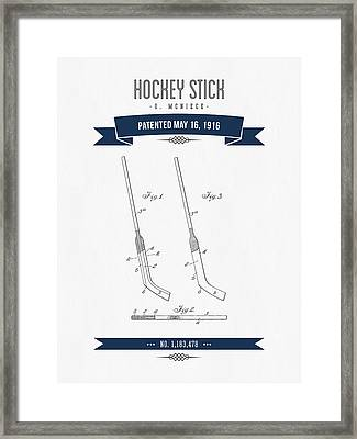 1916 Hockey Stick Patent Drawing - Retro Navy Blue Framed Print by Aged Pixel