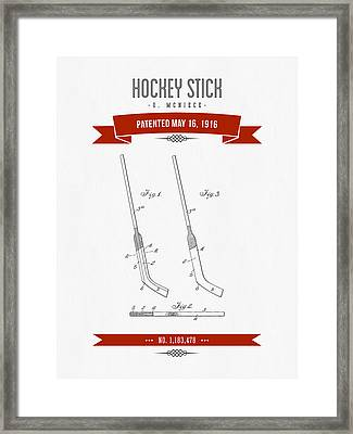 1916 Hockey Stick Patent Drawing - Retro Red Framed Print by Aged Pixel
