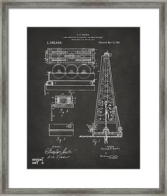 1916 Oil Drilling Rig Patent Artwork - Gray Framed Print