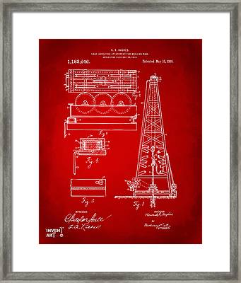1916 Oil Drilling Rig Patent Artwork - Red Framed Print