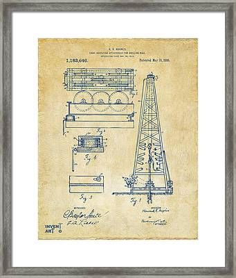 1916 Oil Drilling Rig Patent Artwork - Vintage Framed Print