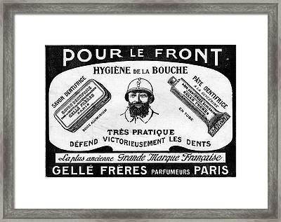 1916 Toothpaste Advert Framed Print by Cci Archives