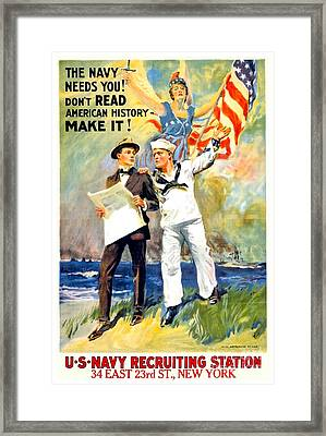 1917 - United States Navy Recruiting Poster - World War One - Color Framed Print