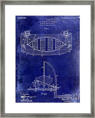 1917 Davit Patent Drawing Blue Framed Print by Jon Neidert