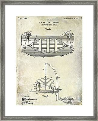 1917 Davit Patent Drawing  Framed Print by Jon Neidert