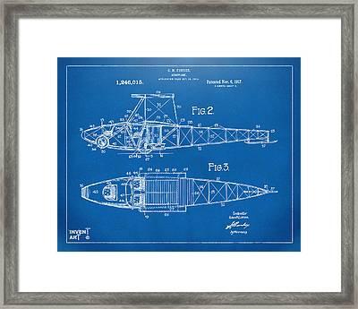 1917 Glenn Curtiss Aeroplane Patent Artwork 2 Blueprint Framed Print by Nikki Marie Smith