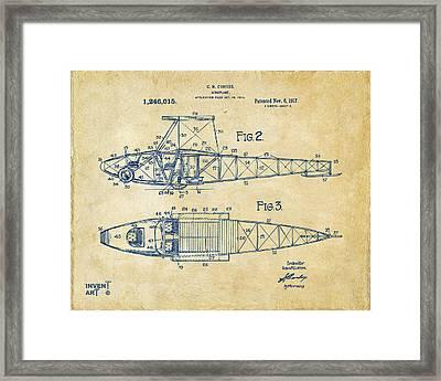 1917 Glenn Curtiss Aeroplane Patent Artwork 2 Vintage Framed Print by Nikki Marie Smith