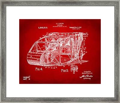 1917 Glenn Curtiss Aeroplane Patent Artwork 3 Red Framed Print by Nikki Marie Smith