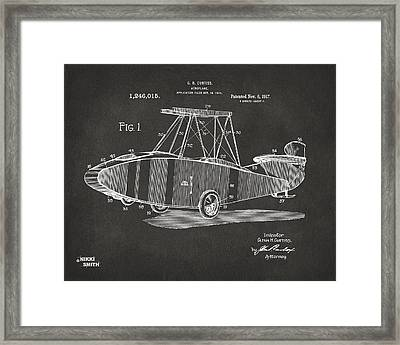 1917 Glenn Curtiss Aeroplane Patent Artwork - Gray Framed Print