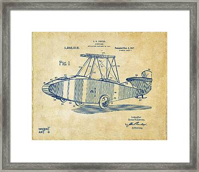 1917 Glenn Curtiss Aeroplane Patent Artwork Vintage Framed Print by Nikki Marie Smith