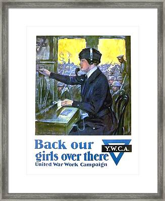 1918 - Ywca World War I Poster - Color Framed Print by John Madison
