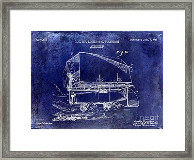 1919 Airship Patent Drawing Blue Framed Print by Jon Neidert