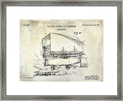 1919 Airship Patent Drawing Framed Print by Jon Neidert