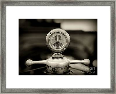 1919 Ford Model T Hood Ornament In Black And White Framed Print by Paul Ward