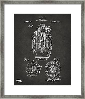 1919 Hand Grenade Patent Artwork - Gray Framed Print by Nikki Marie Smith