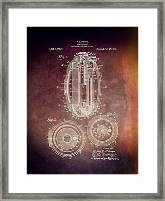 1919 Hand Grenade Patent Framed Print