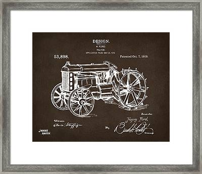 Framed Print featuring the drawing 1919 Henry Ford Tractor Patent Espresso by Nikki Marie Smith