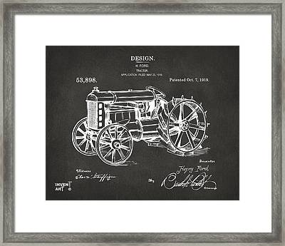 1919 Henry Ford Tractor Patent Gray Framed Print by Nikki Marie Smith