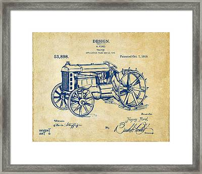 1919 Henry Ford Tractor Patent Vintage Framed Print by Nikki Marie Smith