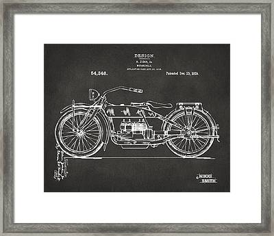 1919 Motorcycle Patent Artwork - Gray Framed Print by Nikki Marie Smith